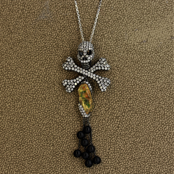 Diamond Opal Onyx Gold Pirate-Skull Pendant