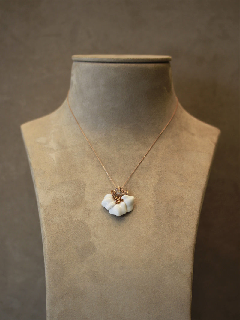 White Onyx Diamond Gold Flower Pendant Necklace