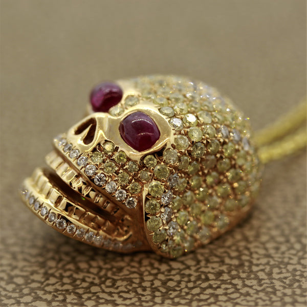 Diamond Ruby Gold Skull Pendant Necklace