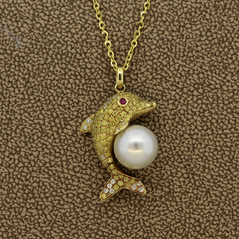 Diamond Pearl Ruby Gold Dolphin Pendant