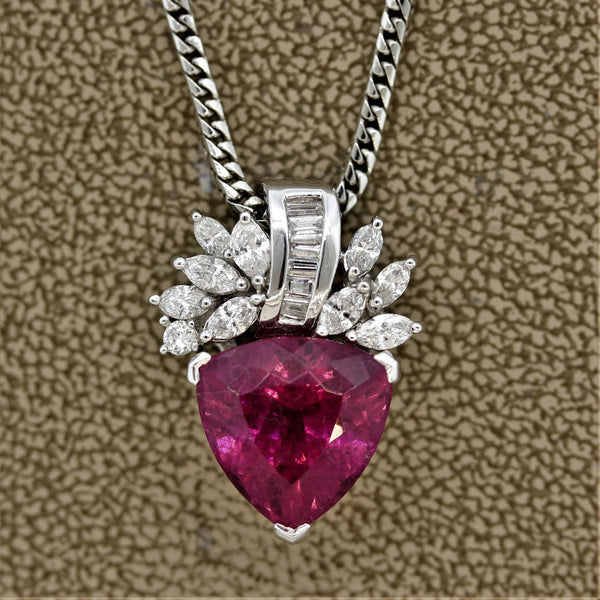 Hot-Pink Tourmaline Diamond Platinum Pendant
