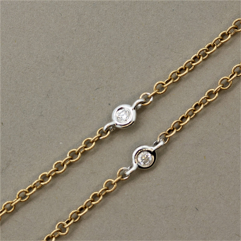 "Diamond Gold Double-Hoop ""Diamonds by the Yard"" Pendant"