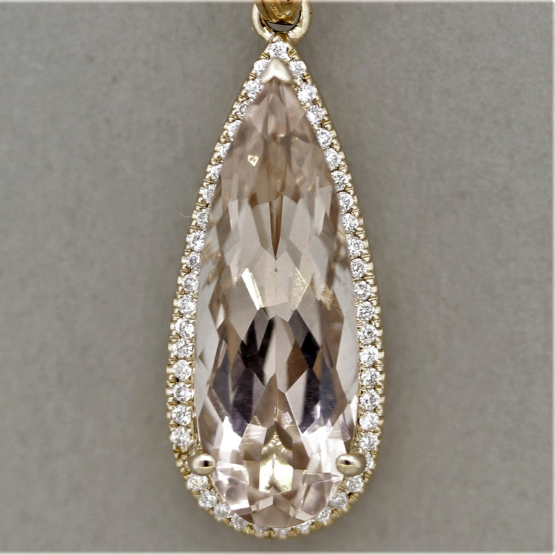 Morganite Diamond Halo Gold Drop Pendant