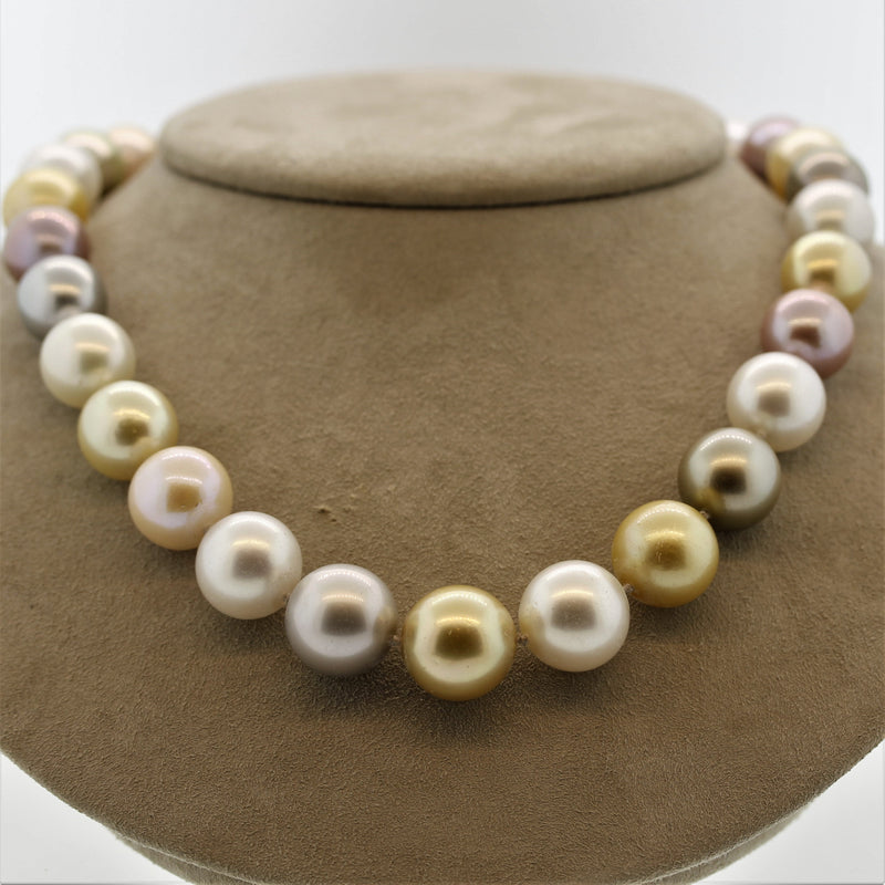 Multi-Color South Sea Pearl Diamond Gold Necklace