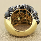 Black Spinel Diamond Gold Cocktail Ring