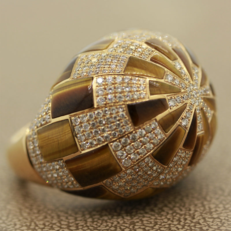 Tigers Eye Diamond Gold Dome Cocktail Ring
