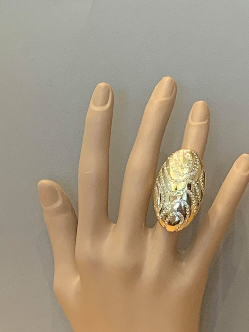 Italian Modern Diamond Gold Cocktail Ring