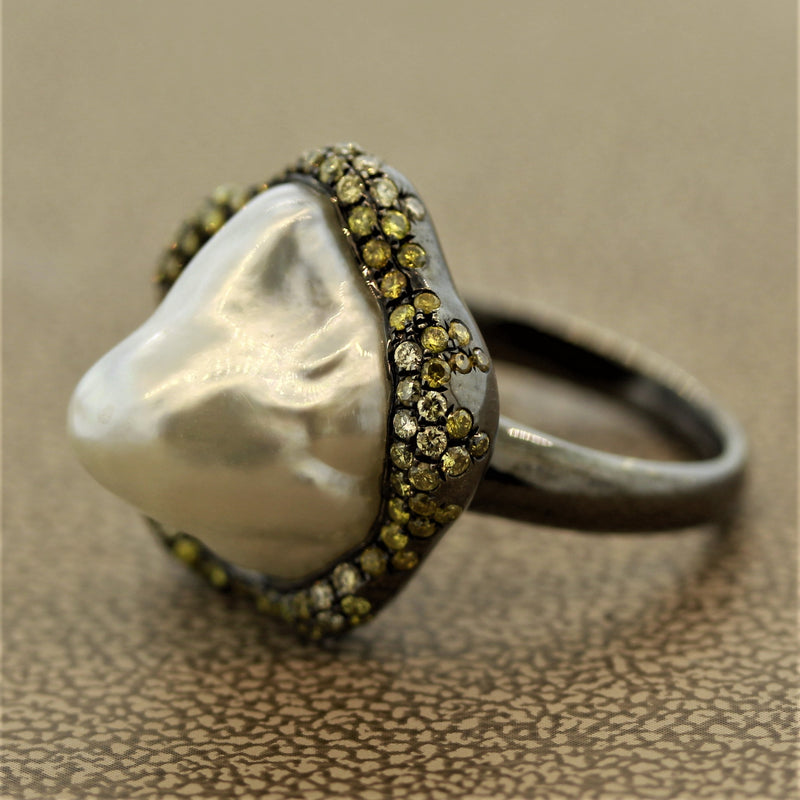 Baroque South Sea Pearl Diamond Gold Ring