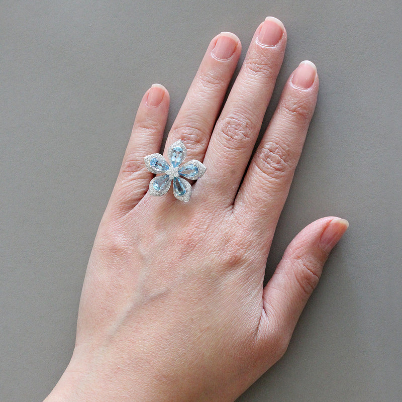 Aquamarine Diamond Gold Lotus Flower Ring