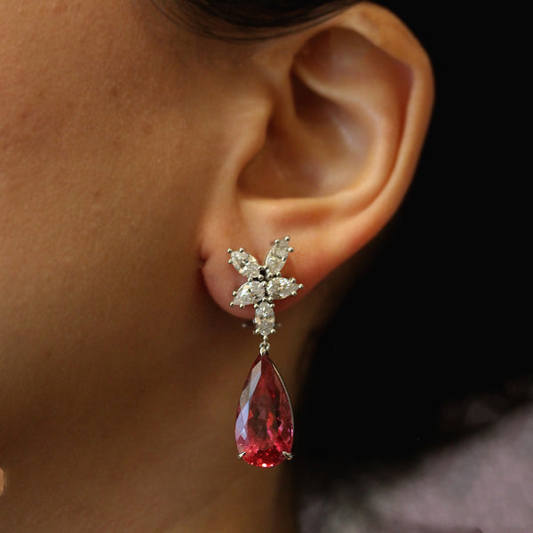 Rubelite Tourmaline Diamond Gold Cluster Drop Earrings