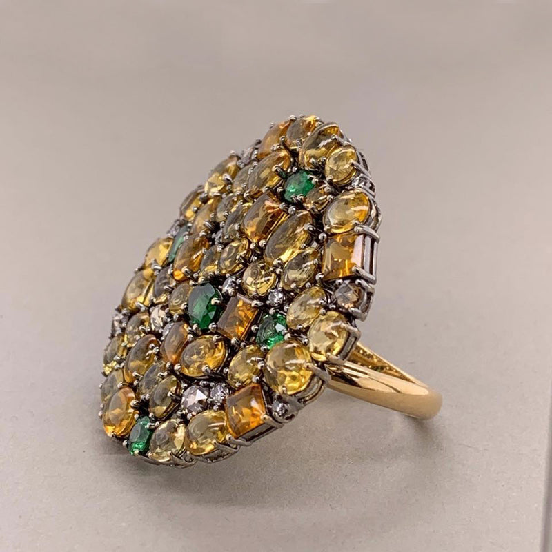 Flexible Diamond Tsavorite Sapphire Gold Cocktail Ring