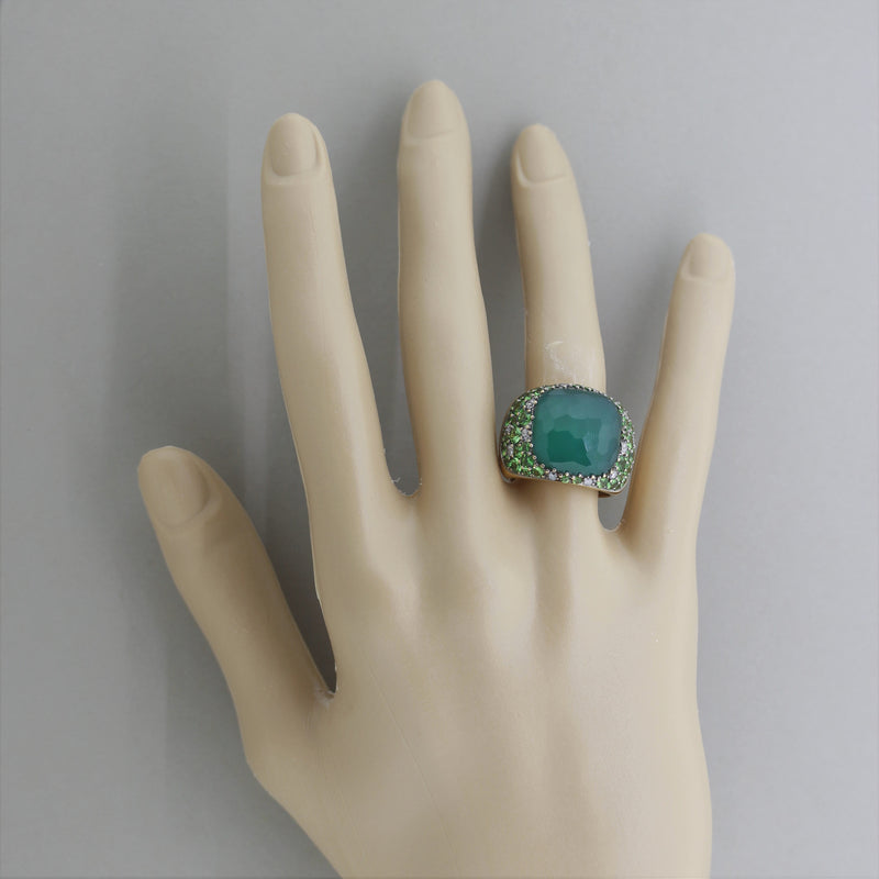 Tsavorite Diamond Crystal Gold Cocktail Ring