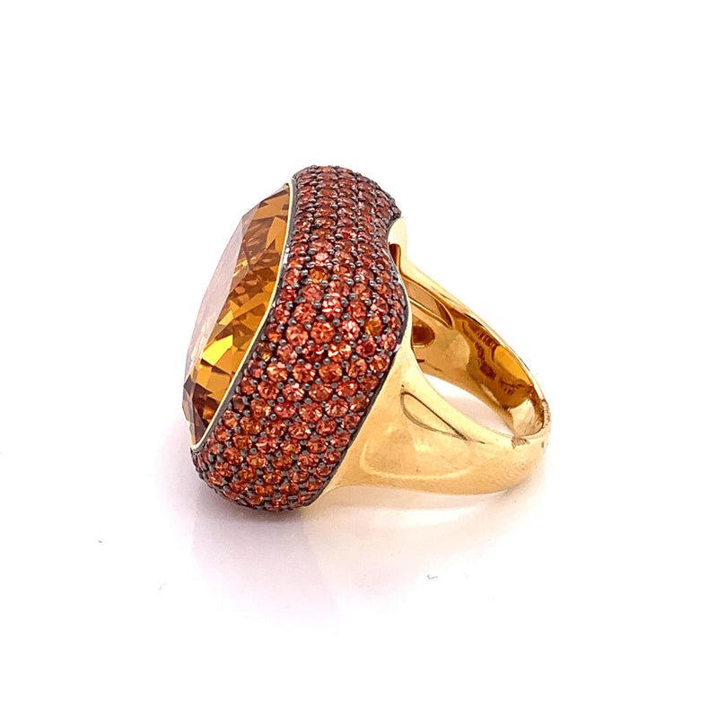 Large Citrine Orange Sapphire Gold Cocktail Ring