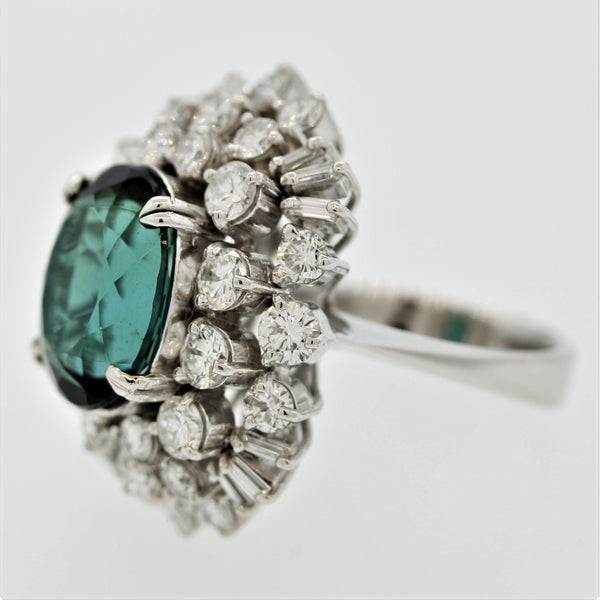 Indicolite Tourmaline Diamond Cluster Gold Cocktail Ring