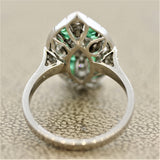 Antique Style Emerald Diamond Platinum Navette Ring