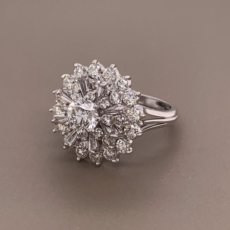 1.03 Carat Diamond Platinum Cluster Ring, GIA Certified