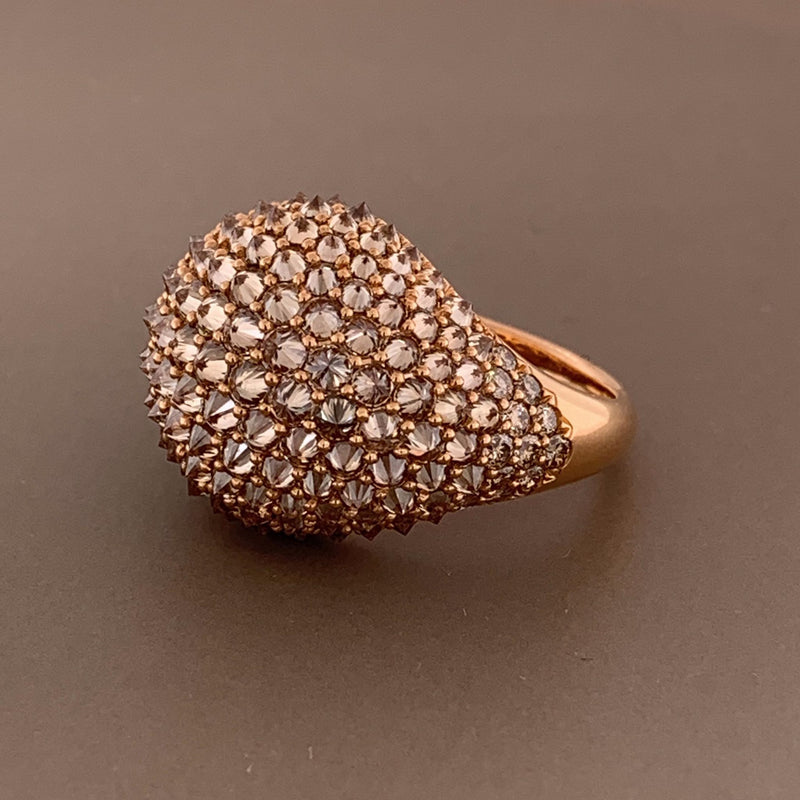 Diamond Inverted Setting Gold Dome Ring
