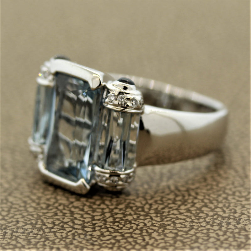 Bellarri Aquamarine Diamond Gold Ring