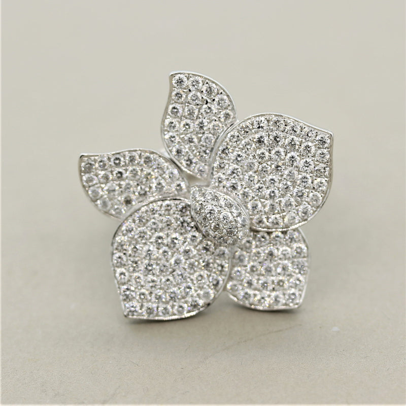 Diamond Pave Flower Gold Cocktail Ring