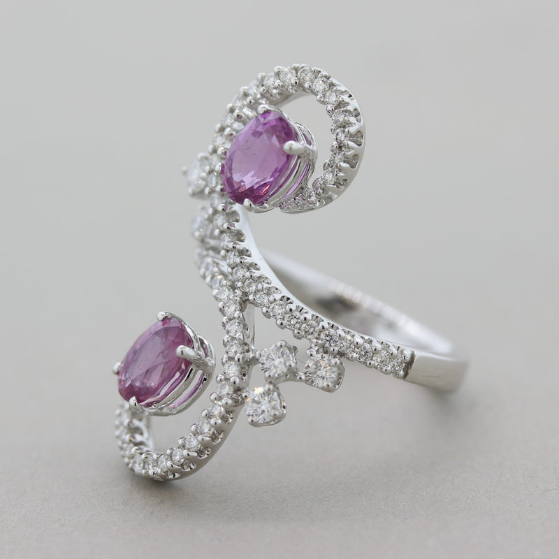 Pink Sapphire Diamond Swirl Gold Cocktail Ring