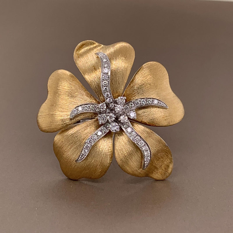 Diamond Flower Two-Tone Gold Cocktail Ring