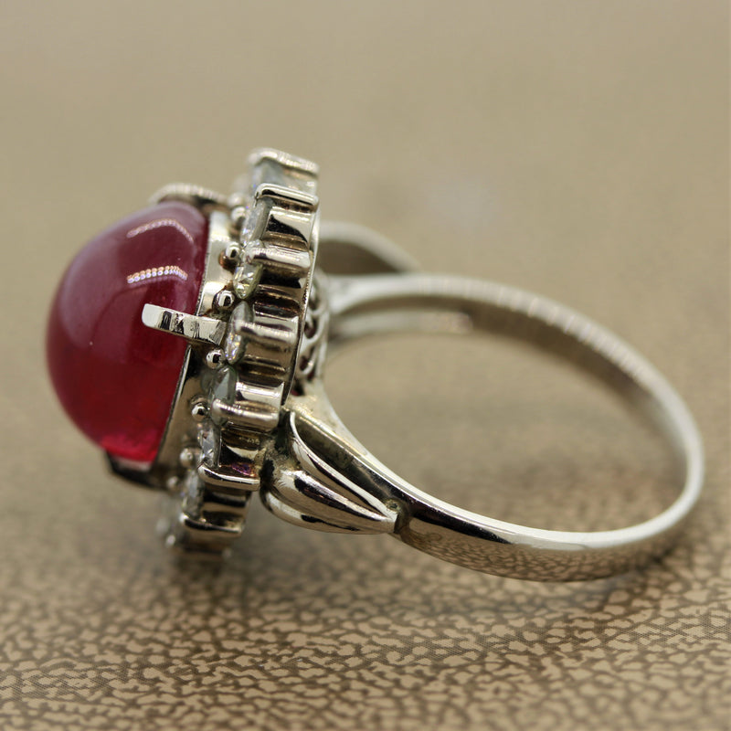 10.30ct Ruby Cabochon Diamond Platinum Ring, GIA Certified No-Heat