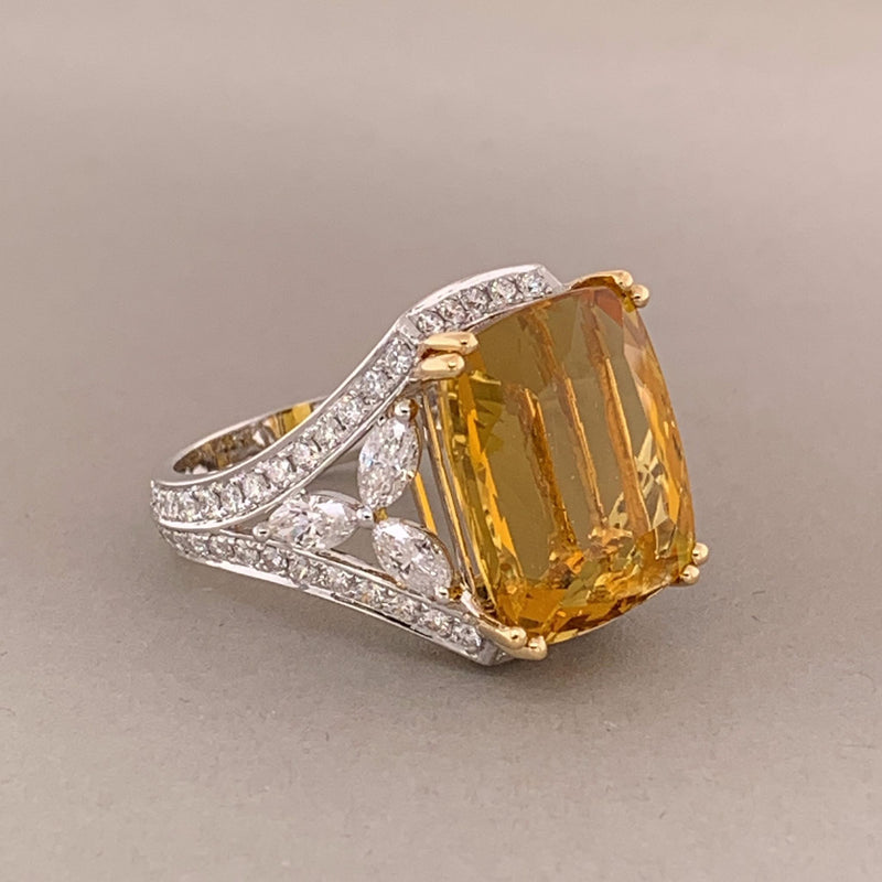 Heliodor Beryl Diamond Gold Ring