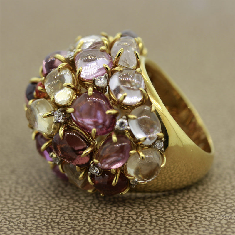 Multi-Color Gemstone Diamond Gold Dome Cocktail Ring
