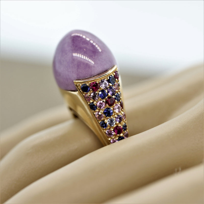 Italian Lavender Jadeite Jade Ruby Sapphire Gold Dome Ring