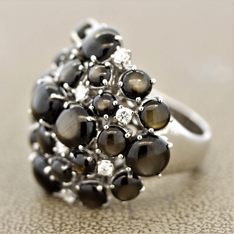 Black Star Sapphire Diamond Gold Cluster Cocktail Ring