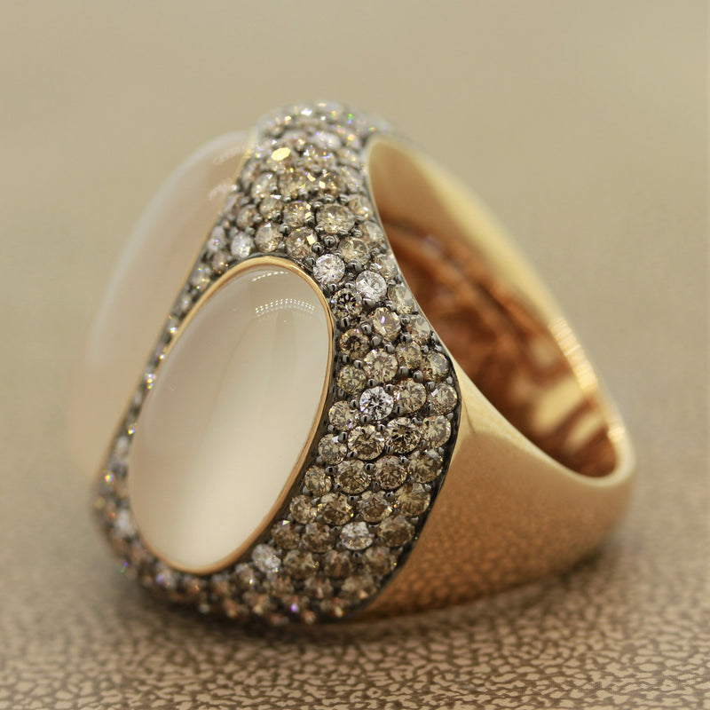 Modern Moonstone Diamond Gold Cocktail Ring