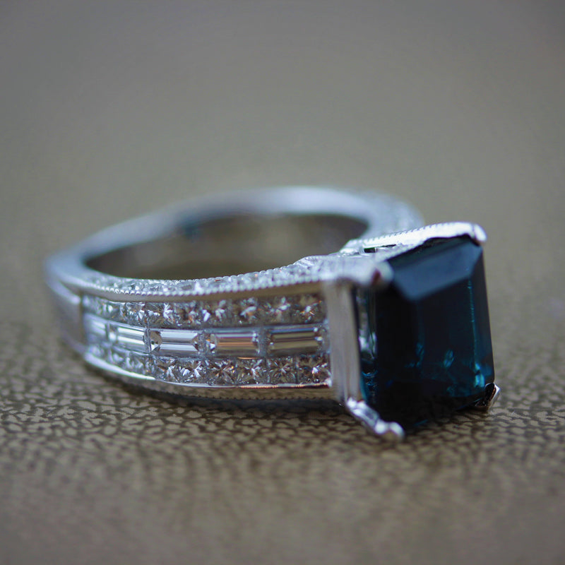 Indicolite Tourmaline Diamond Gold Ring
