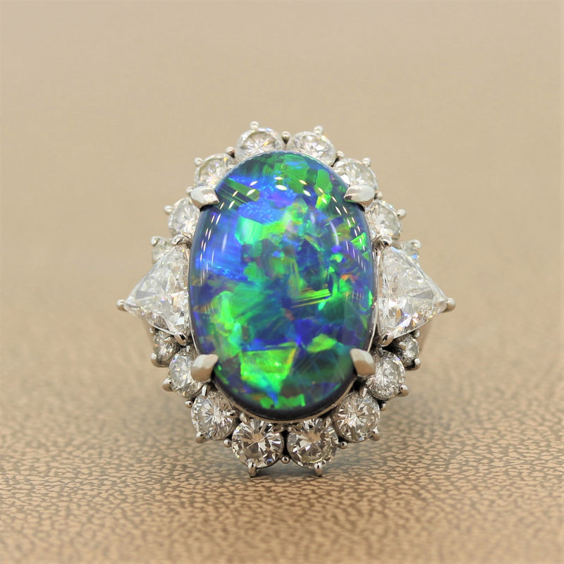 Gem Australian Black Opal Diamond Platinum Ring