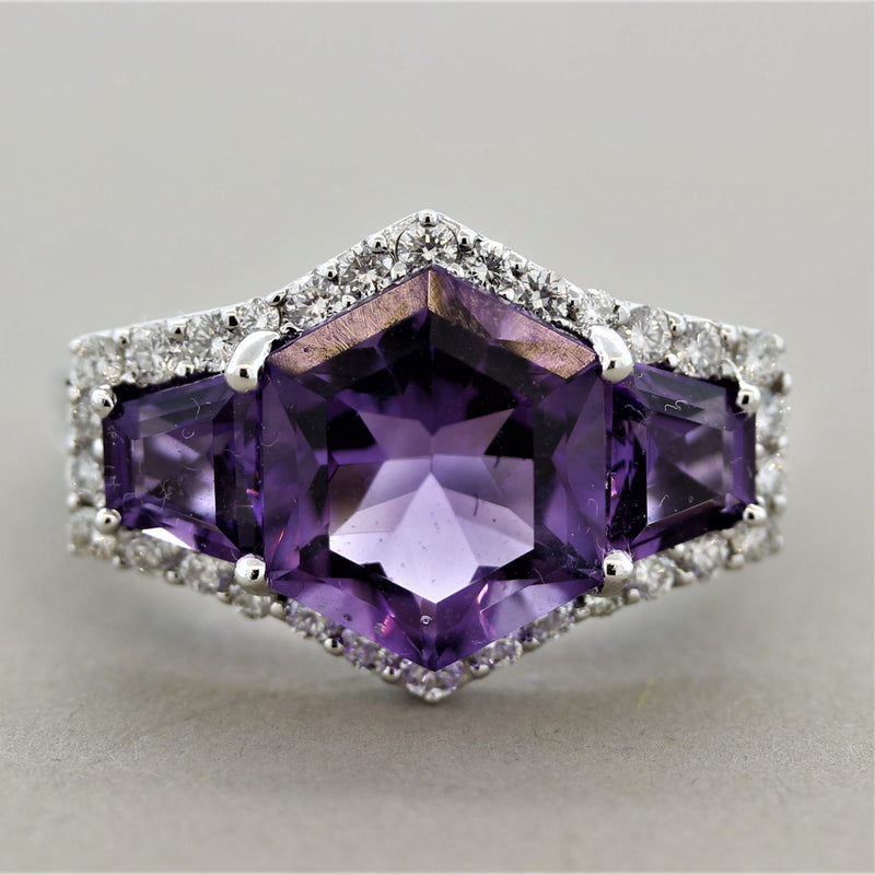 Amethyst Diamond Gold Ring