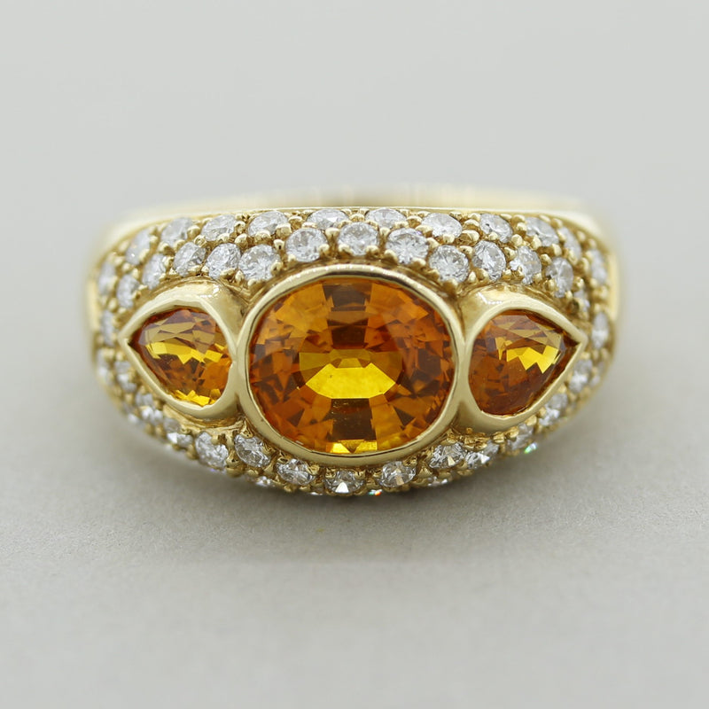Orange Sapphire Diamond Gold Band Ring