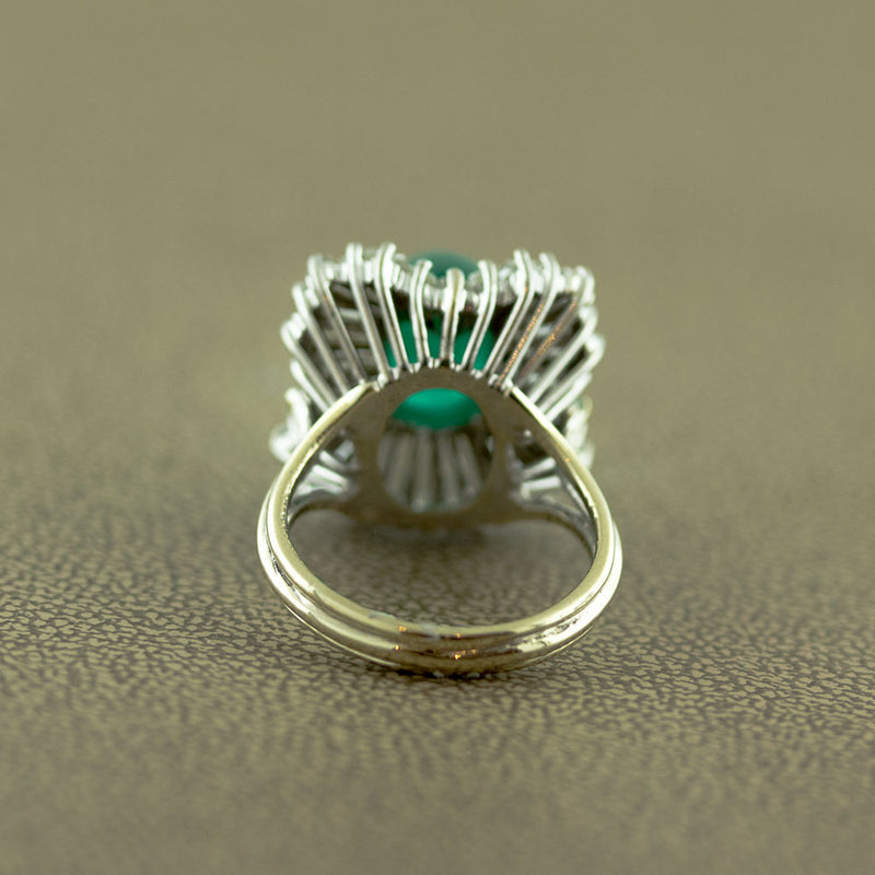 Emerald Cabochon Diamond Gold Ballerina Ring
