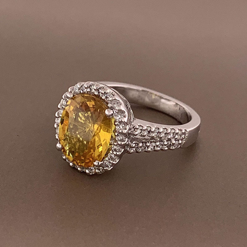 Yellow Sapphire Diamond Gold Ring