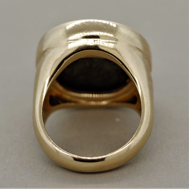Italian Ancient Coin Diamond Gold Ring