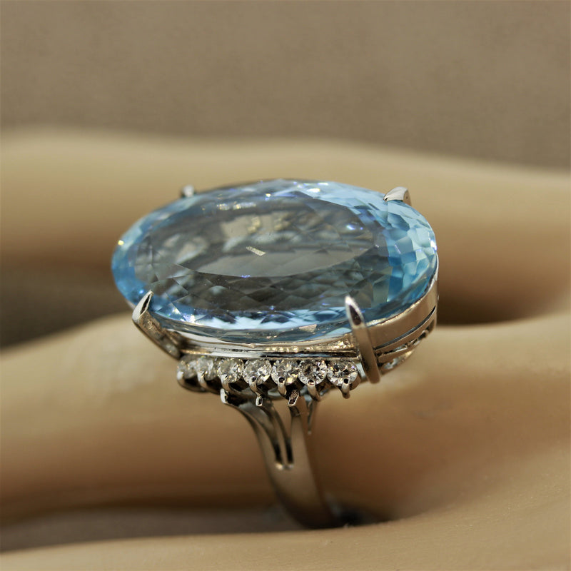 Aquamarine Diamond Platinum Cocktail Ring