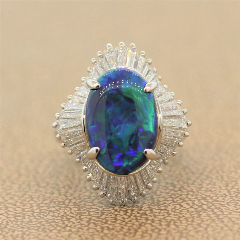 Australian Black Opal Diamond Platinum Ring