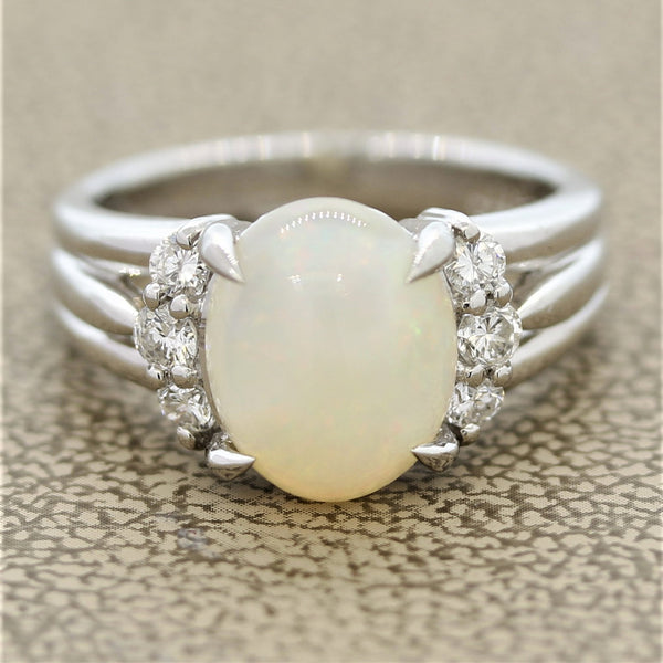 White Opal Diamond Platinum Ring