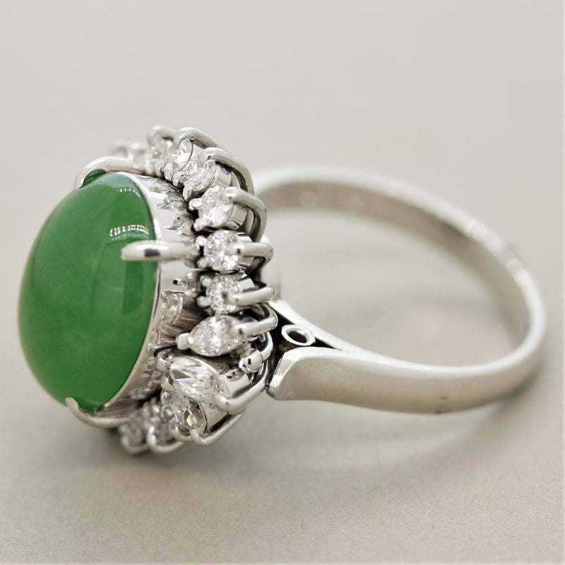Jadeite Jade Diamond Platinum Cocktail Ring