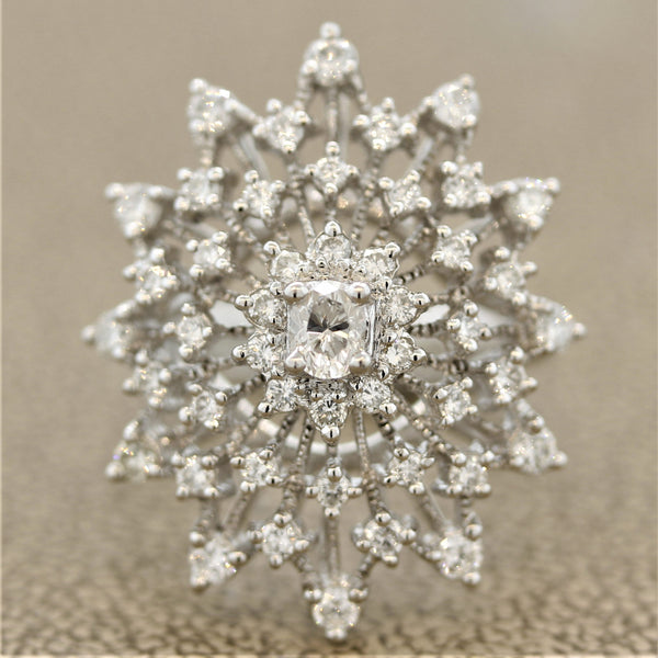 "Diamond Platinum ""Snowflake"" Ring"