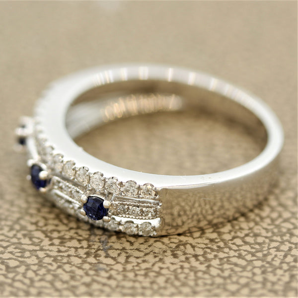Sapphire Diamond Gold Ring Band