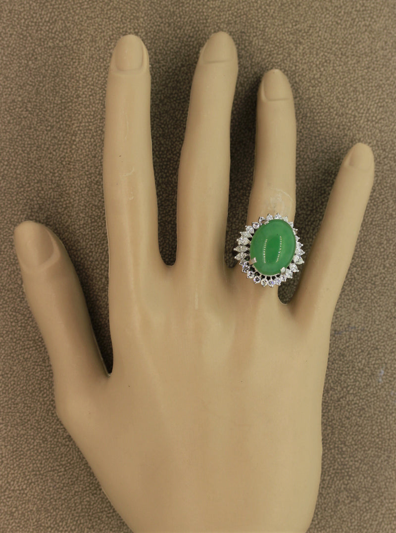 Large Jadeite Jade Diamond Platinum Cocktail Ring