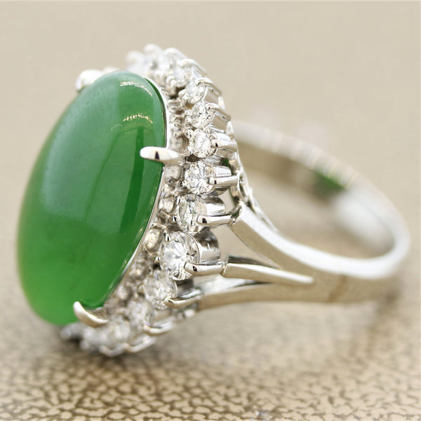 Jadeite Jade Diamond Halo Platinum Ring