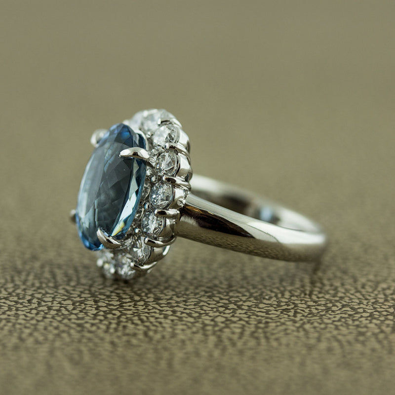 Aquamarine Diamond Halo Platinum Ring