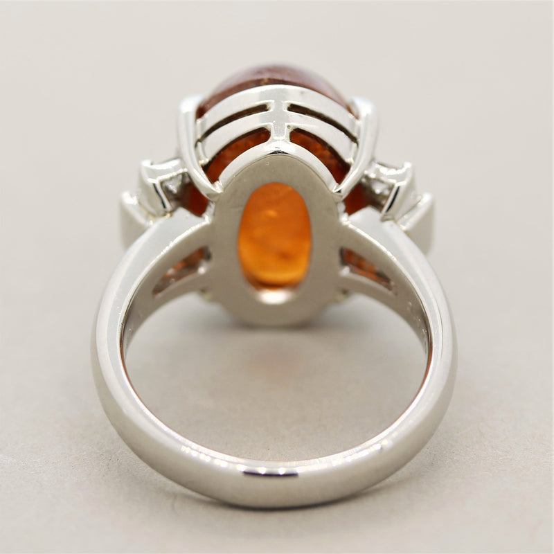Mexican Fire Opal Diamond Platinum Ring