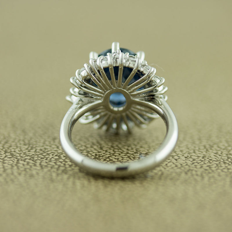Sapphire Diamond Princess Diana Style Platinum Ring