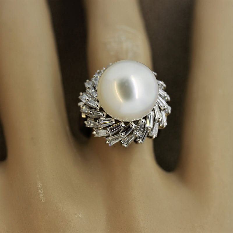 South Sea Pearl Diamond Double Halo Spiral Platinum Ring